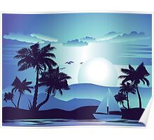Palm Tree at Night 5 Poster