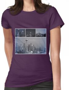 Grey Space Needle II Womens Fitted T-Shirt
