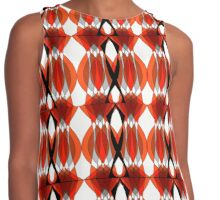 Bold Modern Geometric Orange Grey Patterned Contrast Tank