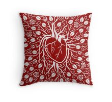 Human heart and rose vine Throw Pillow