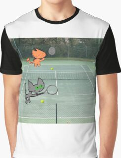 Tennis Cats Graphic T-Shirt