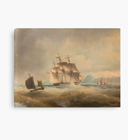 Thomas Lyde Hornbrook (London ) British barque on a stormy sea off coast Canvas Print