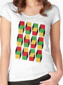 Sheldon Cooper - Rubik's Cube optical illusion | Ilusión óptica del cubo de Rubik Women's Fitted Scoop T-Shirt