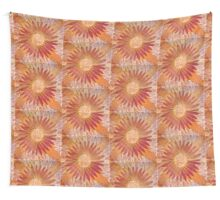 Sunrise Flower Design Lino Cut printed on fabric Wall Tapestry
