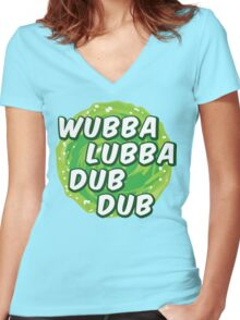 Wubbalubbadubdub Women's Fitted V-Neck T-Shirt
