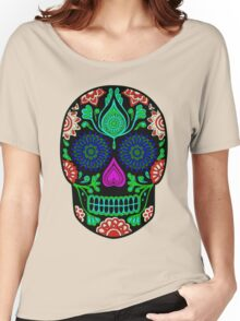 Colorful Floral Skull Head Illustration Women's Relaxed Fit T-Shirt