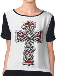 Celtic Cross with Eyes. Chiffon Top