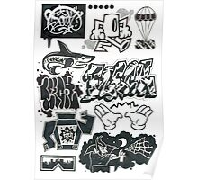 Black and White Graffiti Characters  Poster