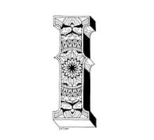 I - Mandala N°1 inside Alphabet N°1 Photographic Print