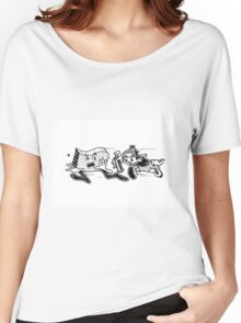 Black and White Graffiti Characters  Women's Relaxed Fit T-Shirt