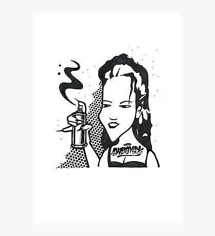 Black and White Graffiti Character Photographic Print