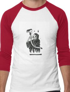 Black and White Graffiti Character Men's Baseball ¾ T-Shirt