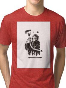 Black and White Graffiti Character Tri-blend T-Shirt