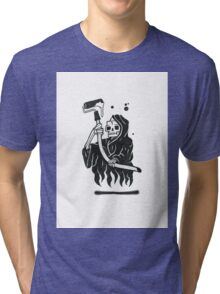 Black and White Graffiti Character Tri-blend T-Shirt