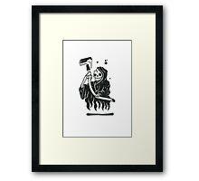 Black and White Graffiti Character Framed Print