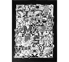 Black and White Graffiti Alphabet Photographic Print