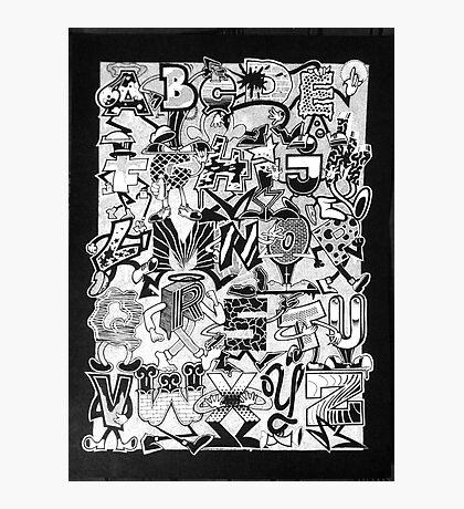 Black and White Graffiti Alphabet Photographic Print