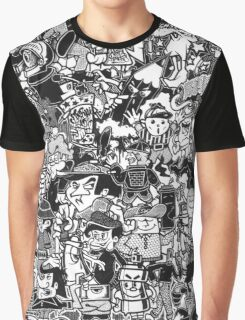 Black and White Graffiti Characters  Graphic T-Shirt