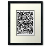 Black and White Graffiti Characters  Framed Print