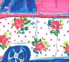 Pink Floral Campervan Sketch Sticker