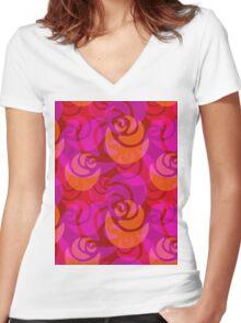 Roses pattern Women's Fitted V-Neck T-Shirt