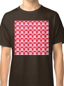 Love Heart Red Pink and White Check Pattern Classic T-Shirt
