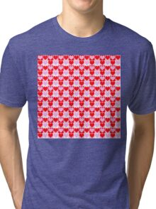 Love Heart Red Pink and White Check Pattern Tri-blend T-Shirt