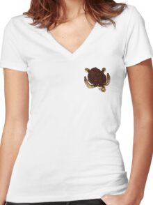 Swimming Turtle Isolated Women's Fitted V-Neck T-Shirt