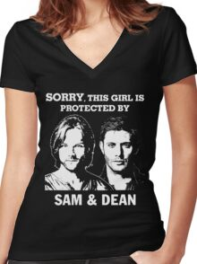SORRY, THIS GIRL IS PROTECTED BY SAM AND DEAN Women's Fitted V-Neck T-Shirt