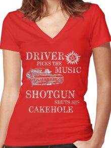 SUPERNATURAL DRIVER PICKS THE MUSIC SHOTGUN SHUTS HIS CAKEHOLE Women's Fitted V-Neck T-Shirt