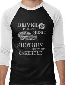 SUPERNATURAL DRIVER PICKS THE MUSIC SHOTGUN SHUTS HIS CAKEHOLE Men's Baseball ¾ T-Shirt