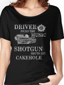 SUPERNATURAL DRIVER PICKS THE MUSIC SHOTGUN SHUTS HIS CAKEHOLE Women's Relaxed Fit T-Shirt