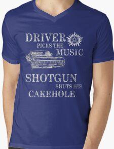 SUPERNATURAL DRIVER PICKS THE MUSIC SHOTGUN SHUTS HIS CAKEHOLE Mens V-Neck T-Shirt