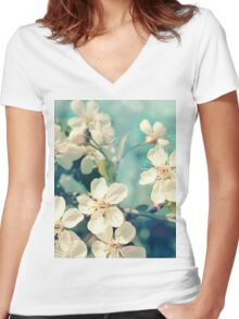 Cherry blossom Women's Fitted V-Neck T-Shirt