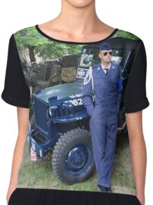 Blue Willys Jeep Chiffon Top
