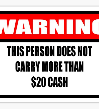Cash Warning Sticker