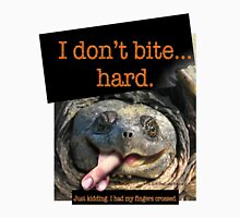 Snapping Turtle - I don't bite hard. Just kidding. I had my fingers crossed. Unisex T-Shirt