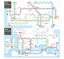 Hong Kong-Shenzhen metro map  Photographic Print