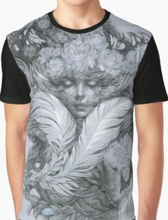 Fairy lady with white feathers and roses. Graphic T-Shirt