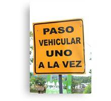 Single Lane Traffic Sign Metal Print