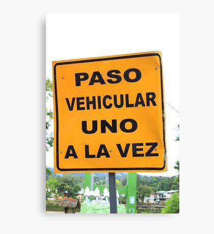 Single Lane Traffic Sign Canvas Print