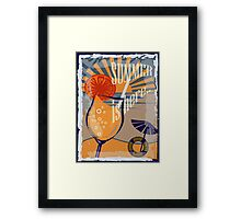 Coctail on the beach, vintage,Summer , see and sun Framed Print