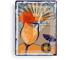 Coctail on the beach, vintage,Summer , see and sun Canvas Print