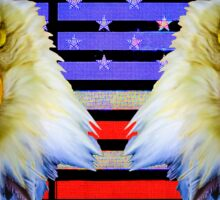 Double Screaming Eagle head on Stars and Stripes Sticker