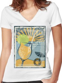 Coctail on the beach, vintage,Summer , see and sun Women's Fitted V-Neck T-Shirt