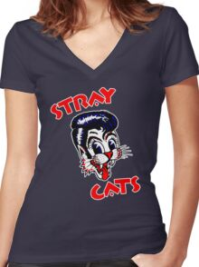 STRAY CATS : ROCKABILLY Women's Fitted V-Neck T-Shirt