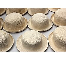 White Knit Hats at the Market Photographic Print