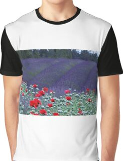 Poppies in the Lavender fields Graphic T-Shirt