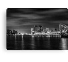 Salford Quays at Night Monochrome  Canvas Print