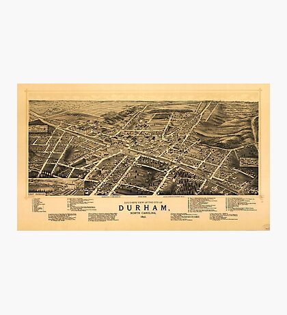 Bird's-eye view of the city of Durham, North Carolina (1891) Photographic Print